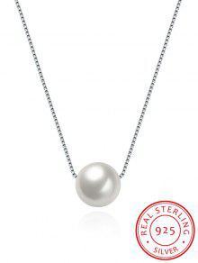 Collar De Plata De Collar De Perlas Artificiales - Plata