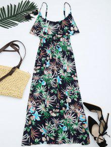 فستان طباعة الأوراق كشكش بوهيمي كامي - متعدد