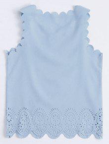 Hacia 243;n Azul Claro Mangas La Festoneado Ahueca Fuera L Sin Camiseta Hal nBpxqwx