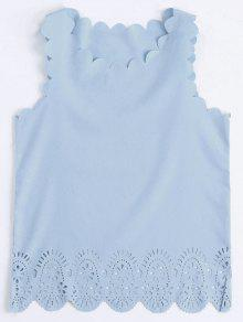 Scalloped Hem Hollow Out Tank Top - Light Blue L