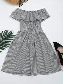 Open Back Striped Off The Shoulder Dress - Black M