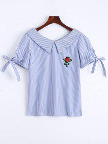 Floral Patched Self Tie Striped Blouse - Blue S