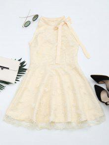 Mesh Panel Bowknot Embellished Flare Dress - Apricot M
