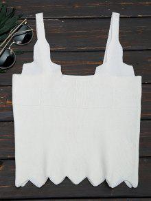 Zigzag Hem Sleeveless Knitted Crop Top - White
