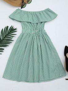 Open Back Striped Off The Shoulder Dress - Green S
