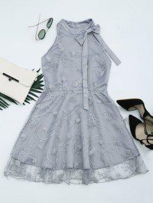 Mesh Panel Bowknot Embellished Flare Dress - Gray Xl