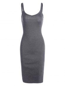Buy Side Slit Knitted Cami Sheath Dress - GRAY ONE SIZE