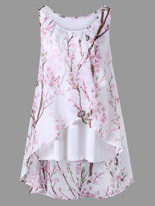 Plus Size Tiny Floral Overlap Sleeveless Top - Pink 5xl