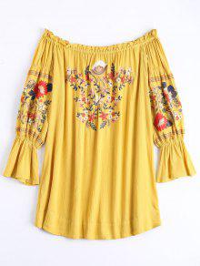 Ruffle Hem Floral Embroidery Shift Dress - Ginger Xl
