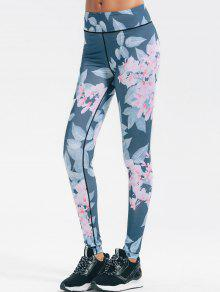 Floral Stretchy Yoga Leggings - Floral L