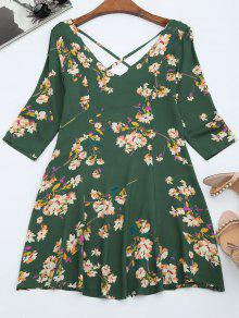 V Neck Floral Print Flared Dress - Green L