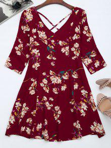 V Neck Floral Print Flared Dress - Burgundy M