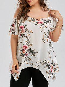 Plus Size Dew Shoulder Tiny Floral Blouse - White 5xl