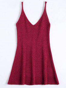 Mini Vestido En A Línea Con Tirante Fino - Rojo Oscuro