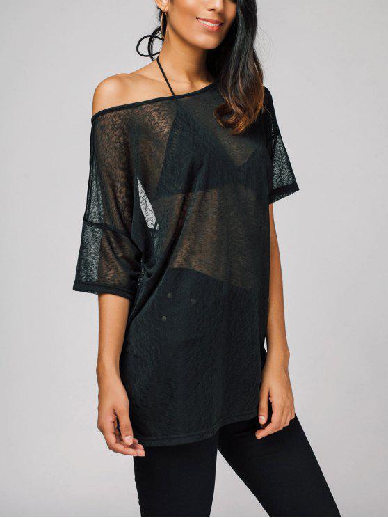 Camiseta semi larga de gran tamaño - Negro 2XL
