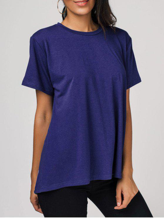 sale High Low Color Block Tee - BLUE 2XL