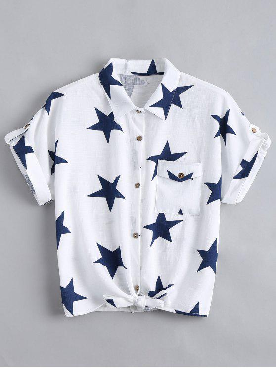 Chemisier à motif d'étoiles avec boutons et poches - Blanc M