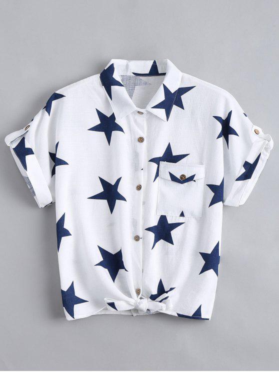 ladies Button Up Star Pattern Pocket Shirt - WHITE XL