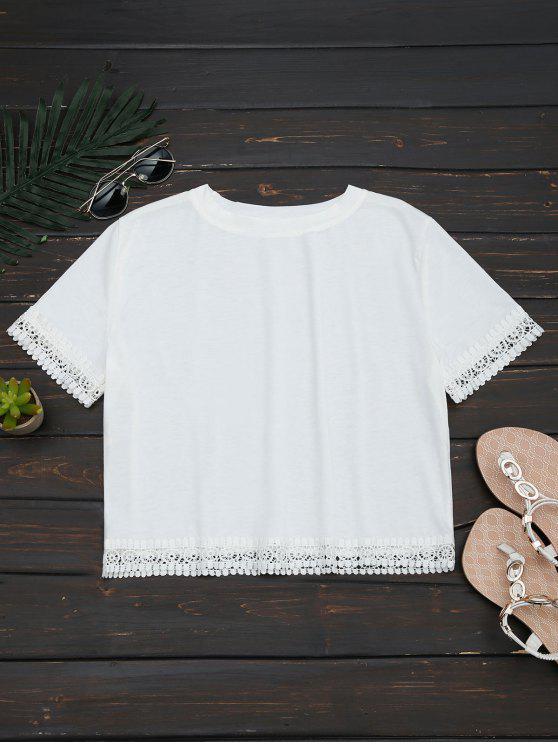 women's Crochet Hollow Out Crop Tee - WHITE XL
