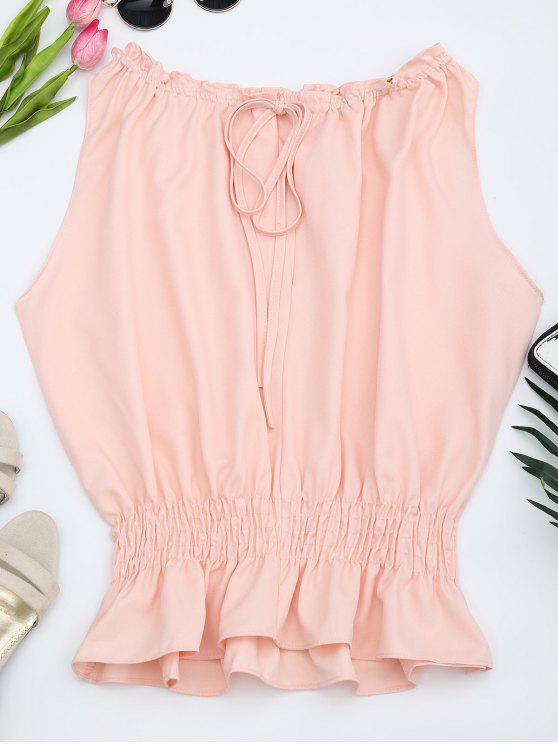 outfits Sleeveless Ruffle Hem Blouse - PINK M