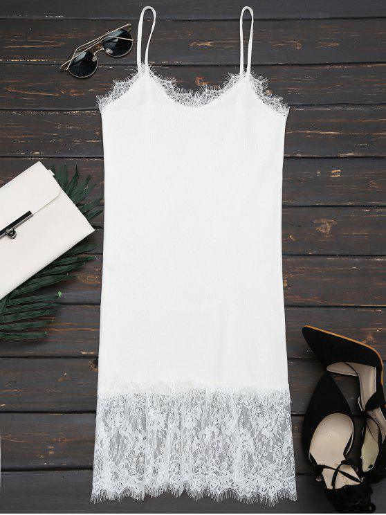 Lace Panel Knitted Cami Dress - White