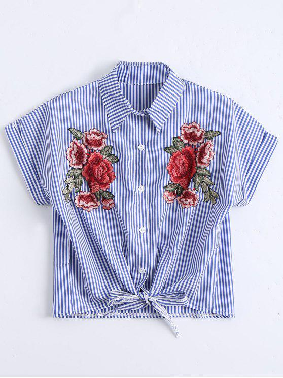 women Floral Patched Striped Button Up Shirt - STRIPE S