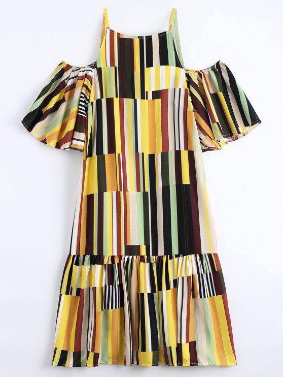 shop Ruffle Hem Striped Cami Dress - YELLOW ONE SIZE