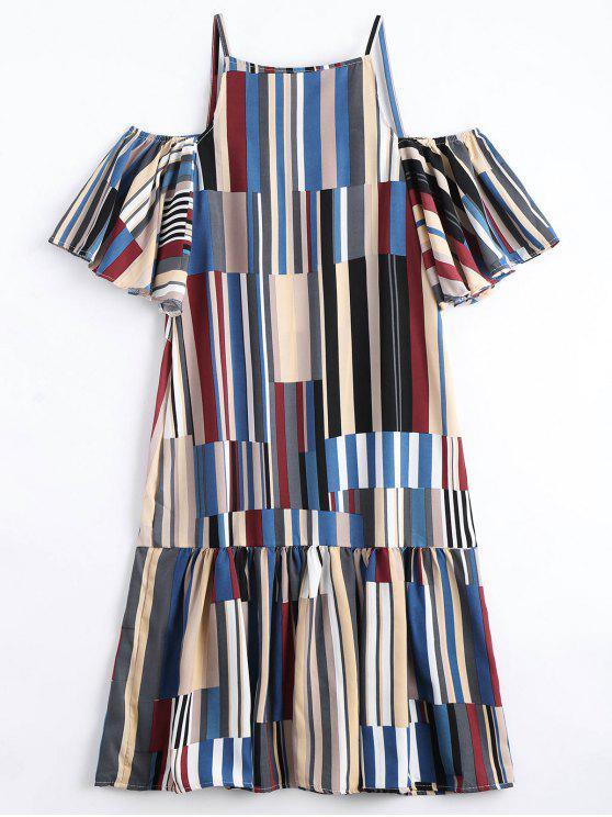 latest Ruffle Hem Striped Cami Dress - BLUE ONE SIZE