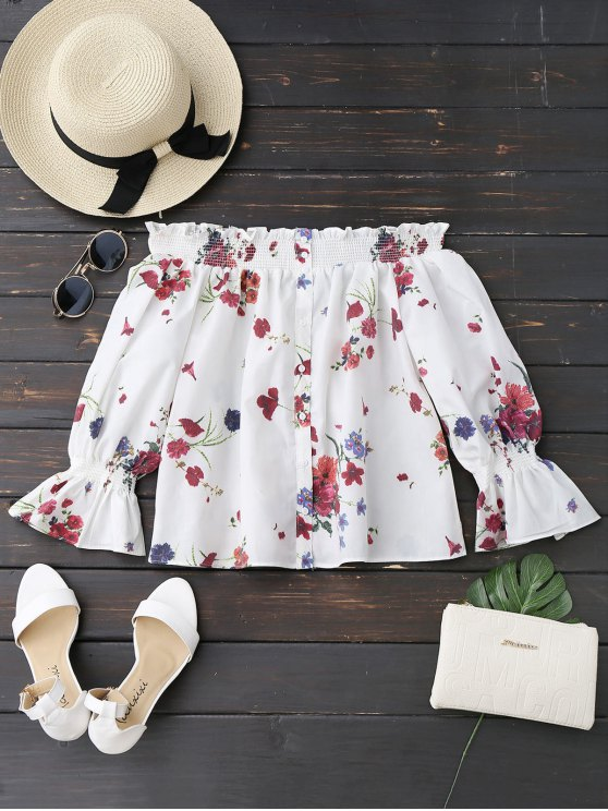 chic Long Sleeves Floral Off The Shoulder Top - WHITE S