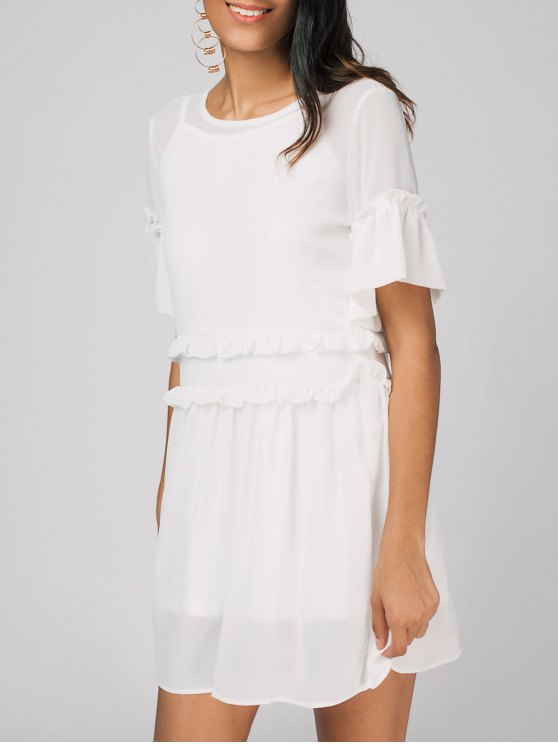 Robe A Line Drapée à Bretelles - Blanc M