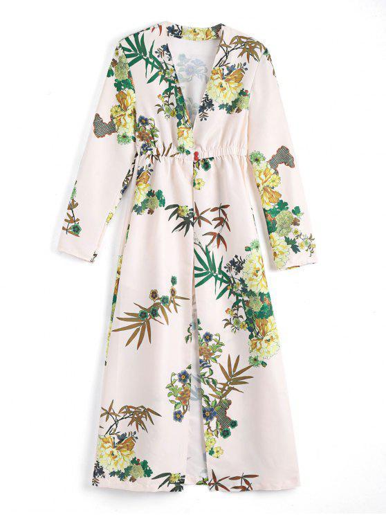 Blumen Lange Ärmel Geöffenet Vorderes Cover up Kleid - Aprikose S