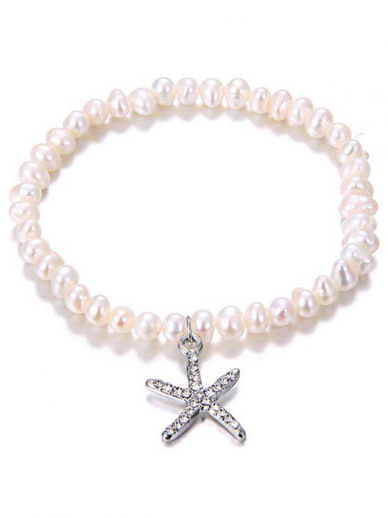 Bracelet en perle artificielle avec pendentif en forme de l'étoile de mer incrusté de strass - Argent