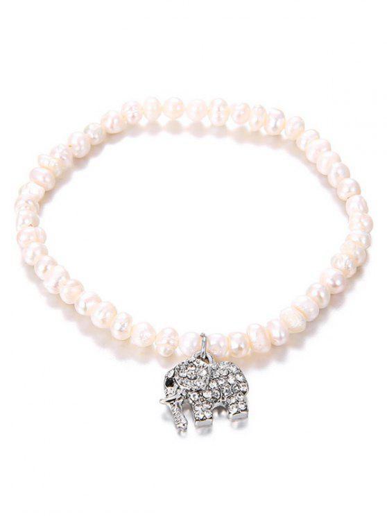Faux Pearl Rhinestone Inlay elefante colgante pulsera - Plata