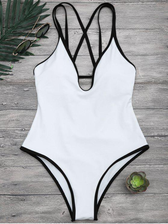 womens Contrast Piping Strappy High Cut Swimsuit - WHITE S