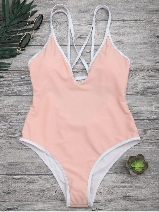ladies Contrast Piping Strappy High Cut Swimsuit - ORANGEPINK S
