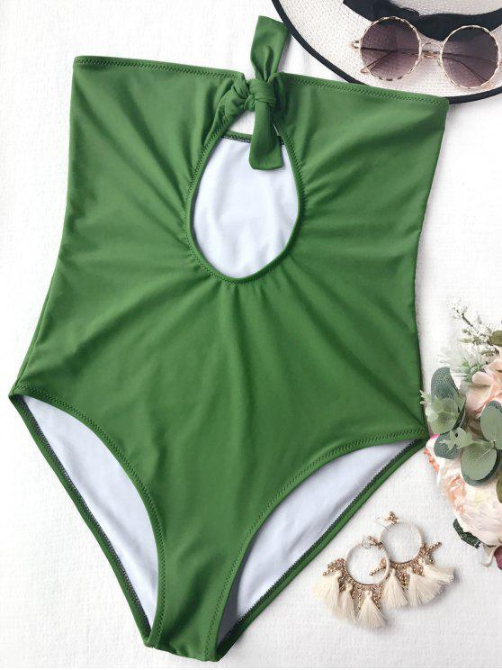 best Cutout Knotted Bandeau One Piece Swimsuit - GREEN M