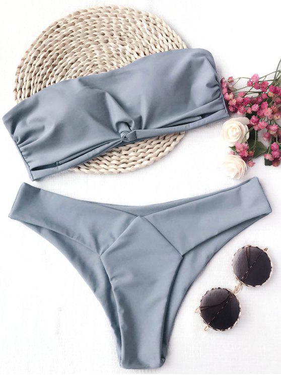 Knoten gepolstertes Bandeau Bikini Set - Grau S