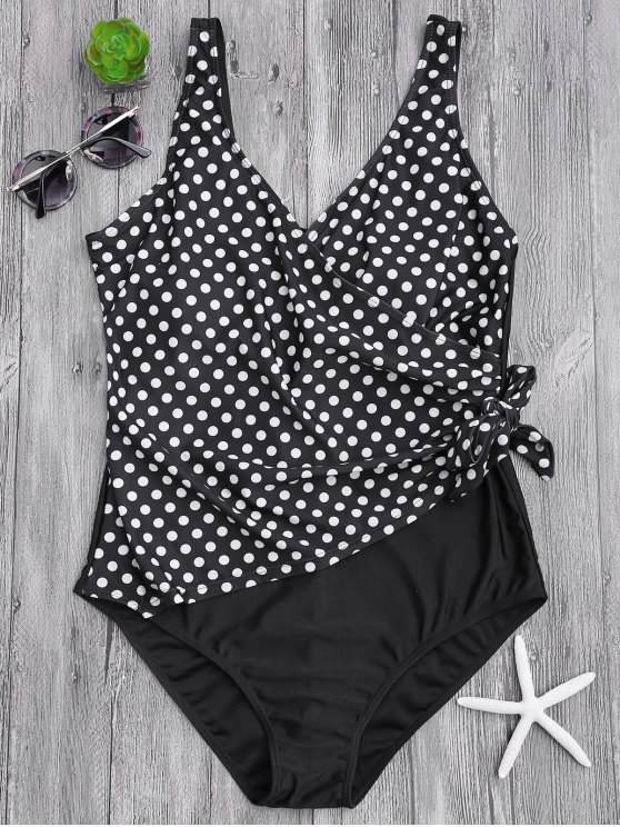 Drapeado Dotted Plus Size One Piece Swimsuit - Branco e Preto XL