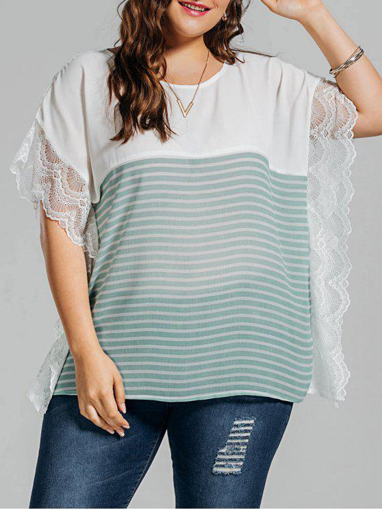 women Plus Size Stripe Lace Panel Dolman Sleeve Chiffon Top - LIGHT GREEN 5XL