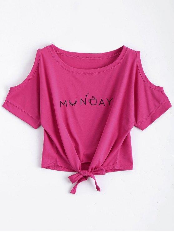 Top épaules dénudés imprimé lettres avec bowknot - Rouge Rose Taille Unique