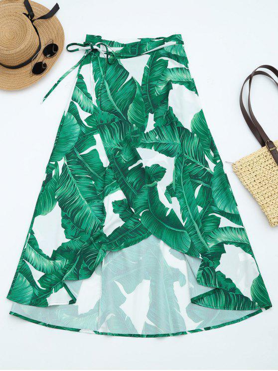 Hojas de impresión de alta cintura envuelta falda - Verde Oscuro L
