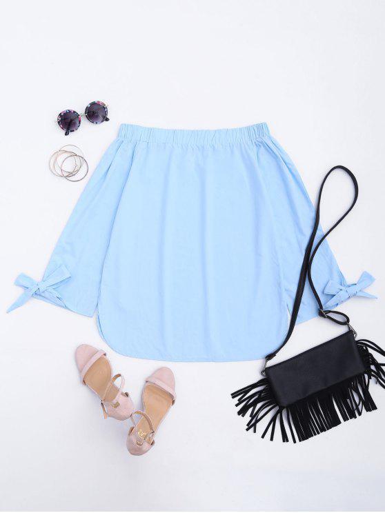 chic Off The Shoulder Longline Blouse - LIGHT BLUE L