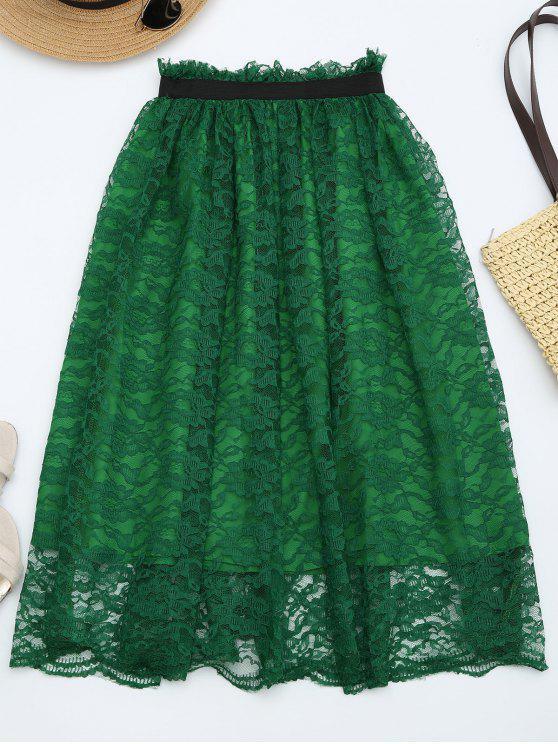 fancy Ruffle Hem Lace Flare Skirt - DEEP GREEN ONE SIZE