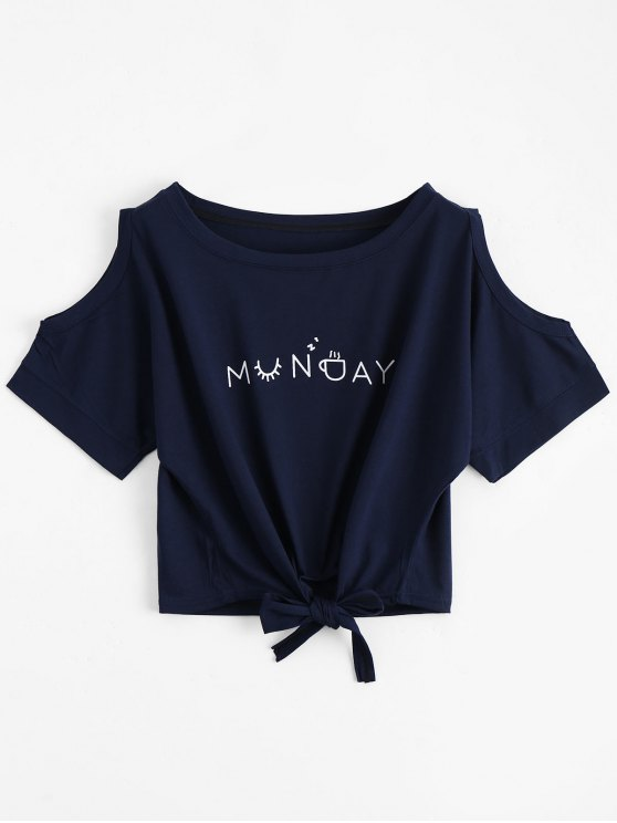 unique Letter Bowknot Cold Shoulder Top - PURPLISH BLUE ONE SIZE