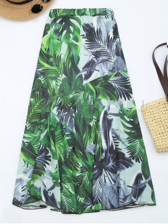 Falda Maxi de la cintura de la impresión de las hojas - Verde L
