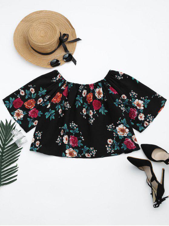 ladies Off The Shoulder Floral Print Crop Blouse - FLORAL M