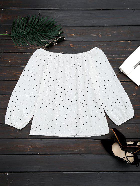 shops Off The Shoulder Polka Dot Swing Blouse - WHITE XL