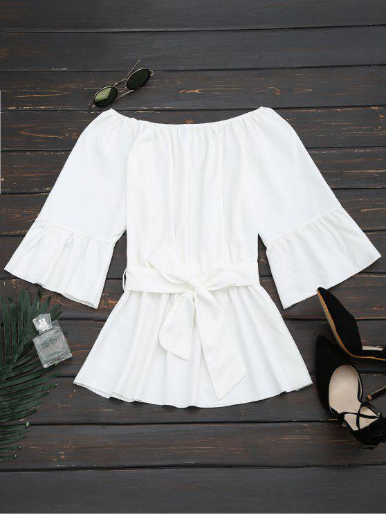 trendy Flare Sleeve Belted Blouse - WHITE S
