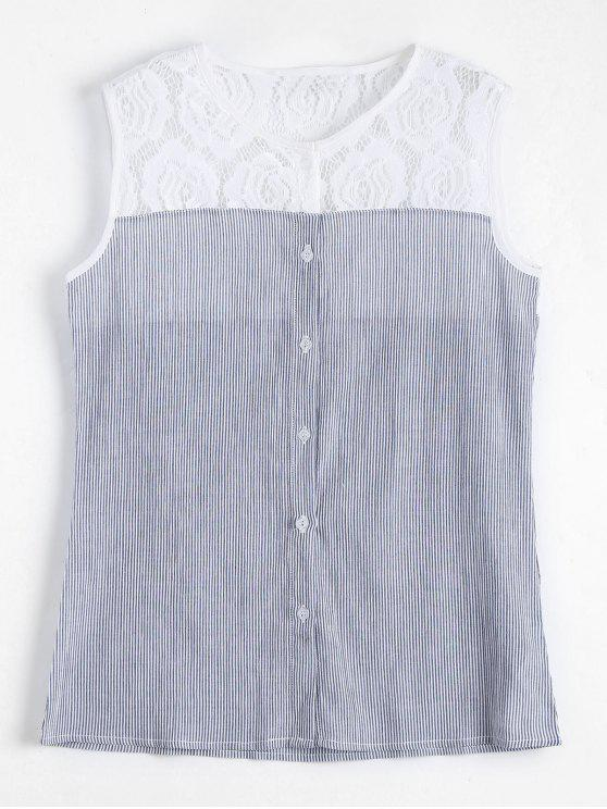 hot Lace Panel Sleeveless Striped Shirt - STRIPE L