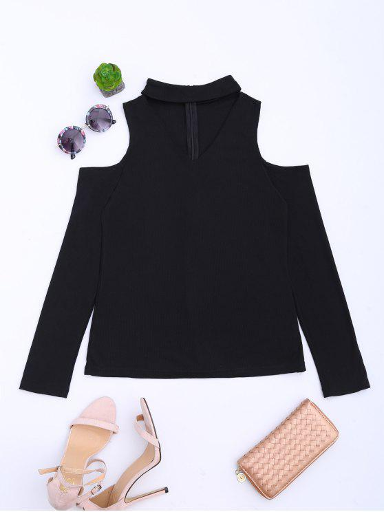 fashion Cold Shoulder Cut Out Ribbed Knitted Tee - BLACK S